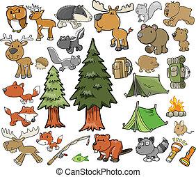 buiten, fauna, vector, set, kamperen