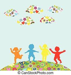 buiten, kinderen, silhouettes, getrokken, hand, spelend