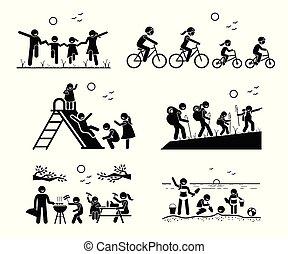buiten, recreatief, activities., gezin