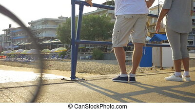 buiten, stretching, hun, vrouw, benen, man