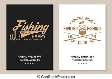 buiten, u, vrolijke , vector., club, spandoek, silhouette., avontuur, zo, poster, visserij, mij, maakt, embleem, much., visje, informatieboekje , haak, flyer, staaf, ontwerp, niet
