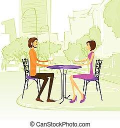 buiten, zittende , paar, straat, tafel, koffiehuis