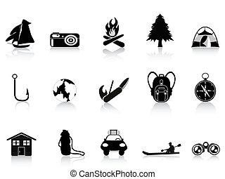 buitenshuis, black , kamperen, pictogram