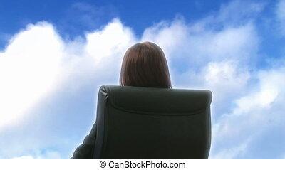 buitenshuis, relaxen, businesswoman