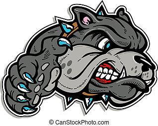 bulldog, betekenen, poot, gezicht