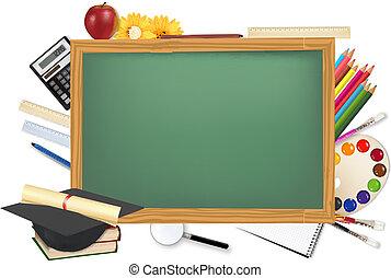 bureau, toebehoren, school, groene