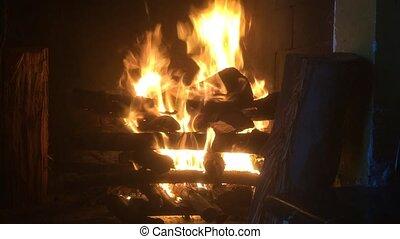burning, openhaard, vuur