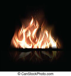 burning, vuur, illustratie, vector, zwarte achtergrond