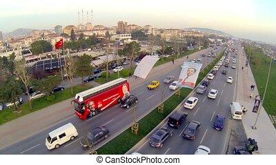 bus, passen, istanbul., straten