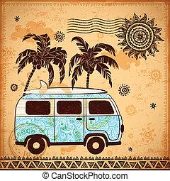 bus, reizen, retro, achtergrond, ouderwetse