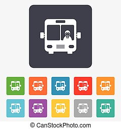 bus, symbool., meldingsbord, icon., openbaar vervoer