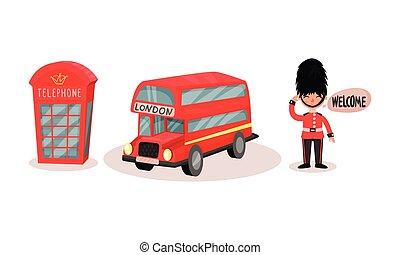 bus, vector, londen, kraam, symbolen, rood, set, telefoon, dubbel, dek