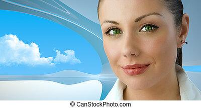businesswoman, brink-eyed, jonge, aantrekkelijk