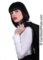 businesswoman, brunette, aantrekkelijk