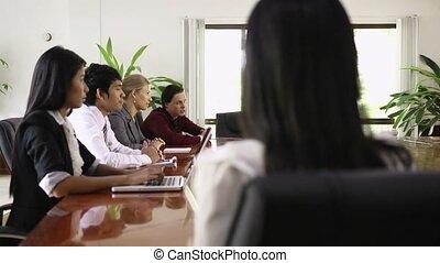 businesswoman, het glimlachen, werken, aziaat