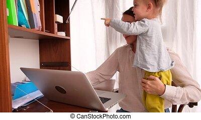 businesswoman, kantoor, werkende , toddler, thuis