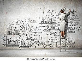 businesswoman, schets, tekening
