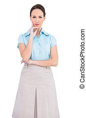 businesswoman, unsmiling, het poseren, fijn