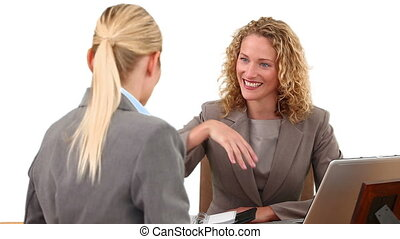 businesswomen, blonde , hebben, vergadering