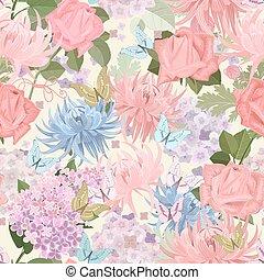butterflies., m, seamless, textuur, delicaat, floral, bloemen