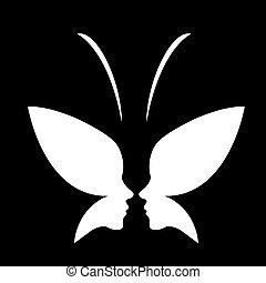 butterfly-, gezicht, logo, dame