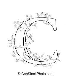 c, brief, floral, schets