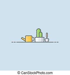 cactus, pictogram, plant, illustratie, vector