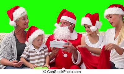cadeau, claus, kerstman, geven, gezin