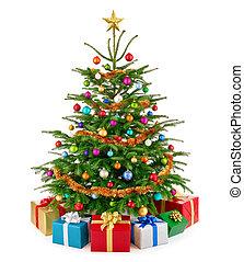 cadeau, kleurrijke, boompje, sterke drank, dozen, fris, kerstmis