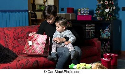cadeau, mamma, kind, baby, kerstkado