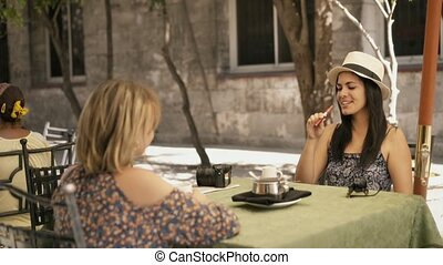 café, e-cig, 9-female, smoking, drinkt, vrienden