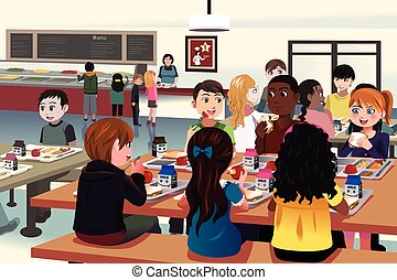 cafetaria, school geitjes, eten