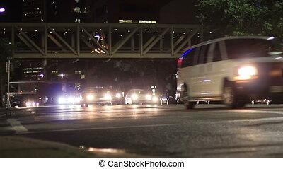 calgary, downtown, verkeer, nacht
