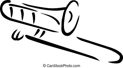 caligraphy, trombone, stijl