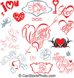 calligraphic, of, vrolijke , enz., liefde, trouwfeest, set, overhandiig geschrijvenene, text:, zelfs, hart, communie, valentine`s dag, vorm., ontwerp, ouderwetse , style., u, feestdagen