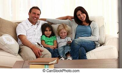camer, gezin, voorkant, het poseren