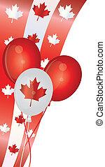 canada, ballons, dag, illustratie, vrolijke