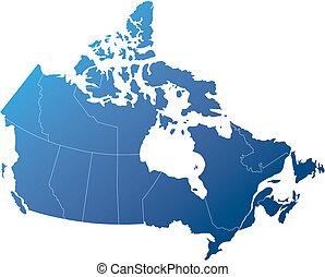canada, blauwe , gearceerd, schaduwen, provincies