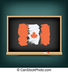 canada, bord, trekken, vlag, school