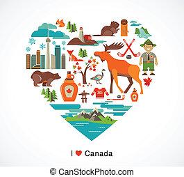 canada, hart, communie, liefde, iconen, -