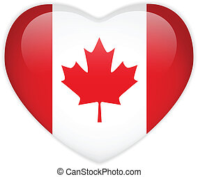 canada, hart, vlag, glanzend, knoop