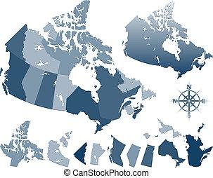 canada kaart, provincies