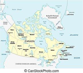 canada kaart, provincies, vector, grens
