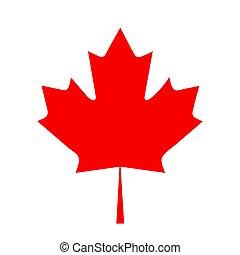 canada, plat, blad, illustratie, vlag, vector, ontwerp, esdoorn, pictogram