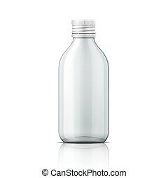 cap., botteel schroef, medisch, glas