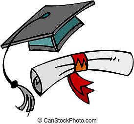 cap., diploma, afgestudeerd