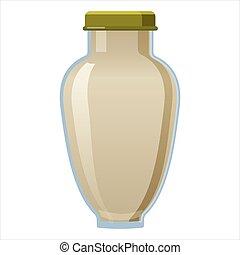 cap., schroef, saus, vector, wasaby, vrijstaand, witte , fles, stijl, glas, illustratie, spotprent
