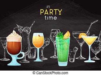 caption:, anders, het is, blackboard., cocktails., krijt, time., vector, plek, achtergrond, text., feestje, tekening, jouw