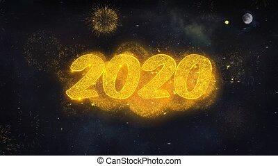 card., jaar, partikels, nieuw, tekst, onthullen, wensen, 2020, vuurwerk, groet