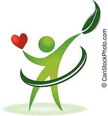 care, logo, gezondheid, hart, natuur